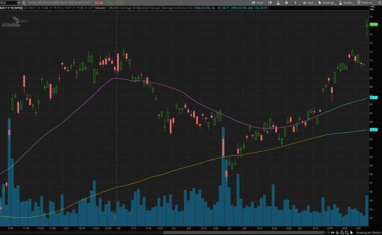 consumer discretionary stocks (BUD stock)
